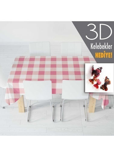 Artikel Pembe Mini Kare Desenli Masa Örtüsü 140x160cm Renkli